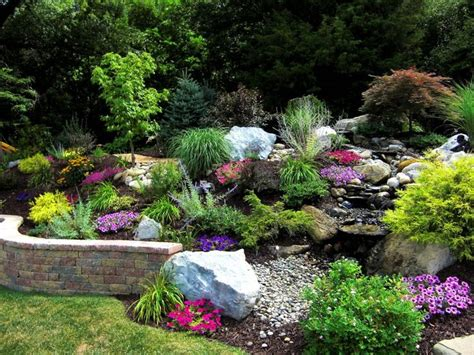 Hillside Garden Ideas Landscape A Slope Great Color Combo And The Creek Bed Erosion Landscape