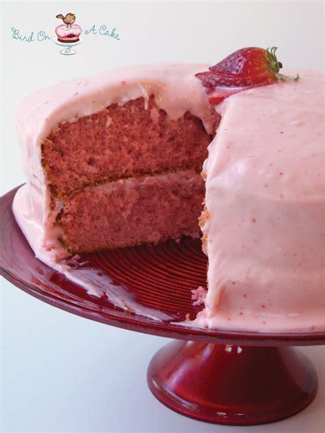 strawberry cake bird on a cake a strawberry cake