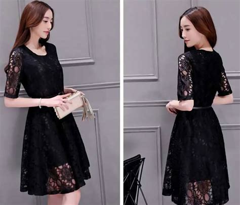 Dress Brokat 2 dress brokat pendek modern warna hitam da202
