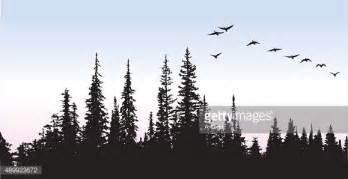 mountain scene tattoo a vector silhouette illustration of a flock of geese flying over a pine forest tattoo ideas