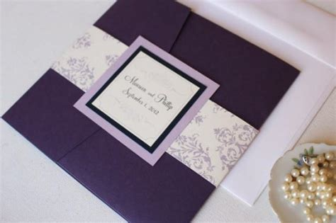 custom pocketfold wedding invitations purple pocket fold wedding invitations purple and lavender invites purple damask invitations