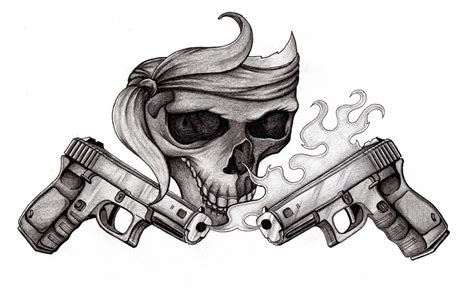 skull n pistols by 4n7h0n7 on deviantart