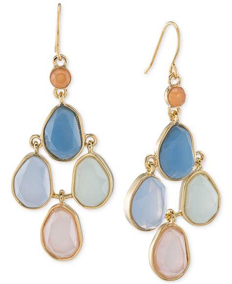 Gold Tone Chandelier Earrings carolee gold tone multi chandelier earrings lyst