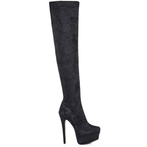 buy rosa concealed platform thigh high heel boots black