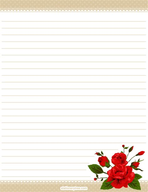 free printable stationary with roses printable rose stationery