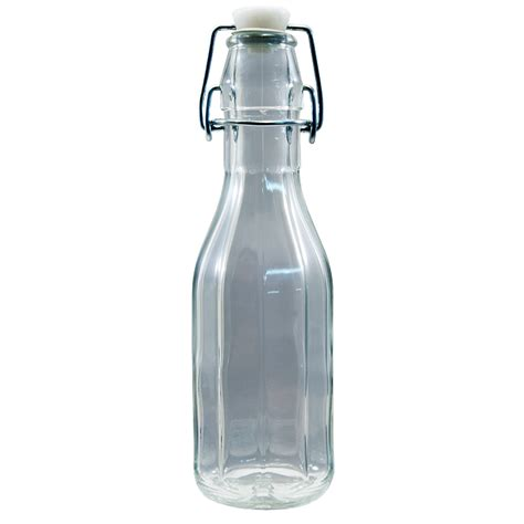 glass bottle with swing top stopper 250ml clear glass hexagonal costalata bottle with swing