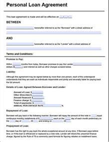 personal loan agreement form free premium