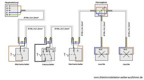 haus elektroinstallation selber machen schaltplan einer kreuzschaltung mit zwei len
