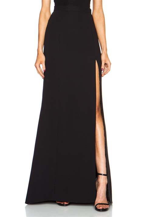 j mendel high slit silk skirt in black lyst