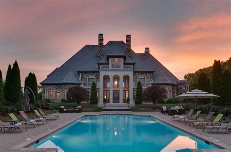 square foot french inspired stone mansion