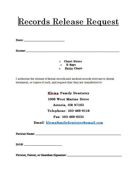 fillable online medical records transfer request form doc fax email