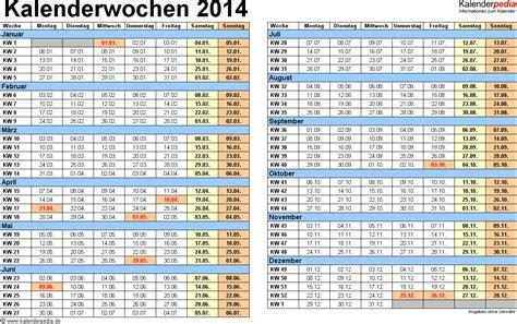 Jahreskalender Mit Kw Kalenderwochen 2014 Mit Vorlagen F 252 R Excel Word Pdf