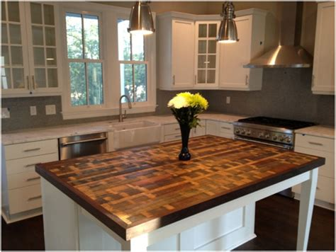 wood island tops kitchens reclaimed designworks wine barrel wood kitchen island countertop shared by this new york