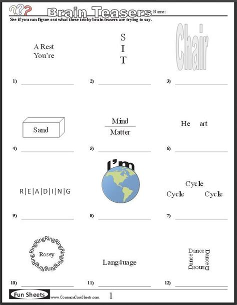free brain teaser printables four free worksheets that