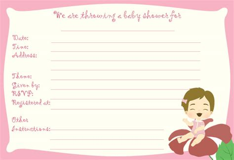Free Printable Baby Shower Templates Designed For Girl Baby Showers Free Printable Baby Shower Cards Templates