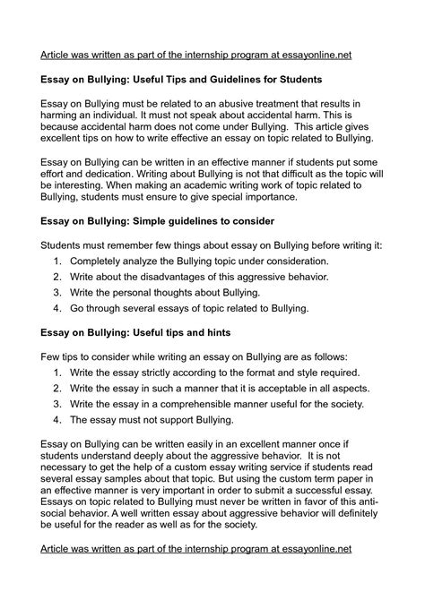 Bullying Essay Thesis by Persuasive Essay About Bullying