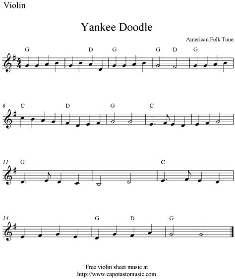 doodle how to play yankee doodle free violin sheet notes