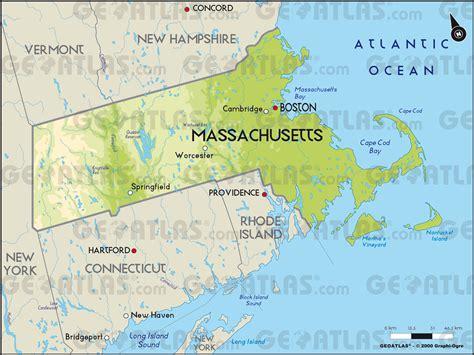 massachusetts physical map geoatlas us states massachusetts map city