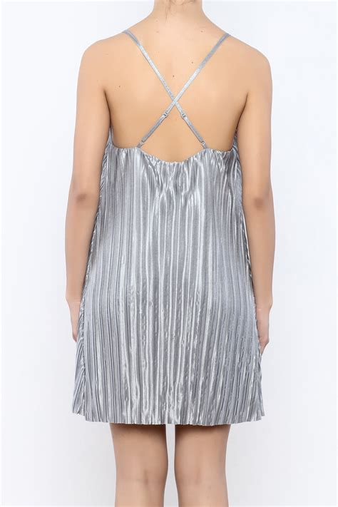 pleated swing dress storia silver pleated swing dress from new york city by