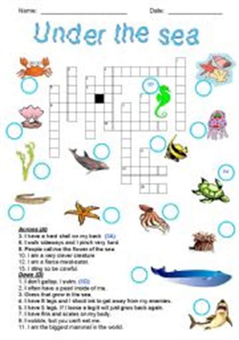 printable under the sea word search under the sea crossword
