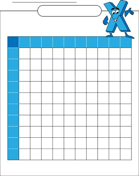 Multiplication Table Blank by Blank Multiplication Table Free