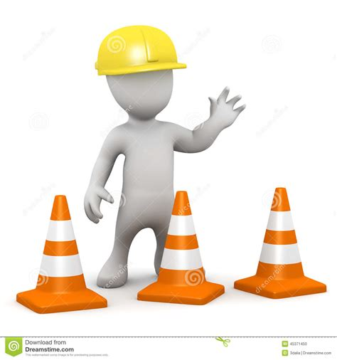 clipart edilizia 3d construction with traffic cones stock