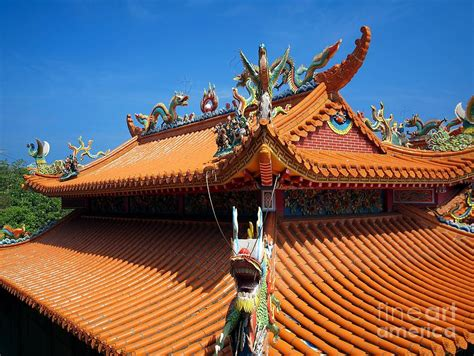 decorated chinese temple roof photograph by yali shi