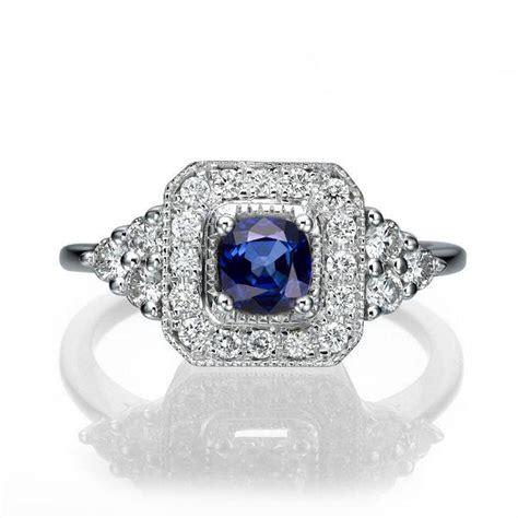 vintage engagement ring 18k white gold ring halo