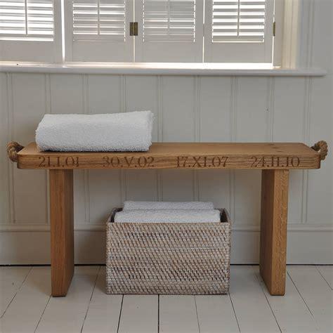 bench oak personalised solid oak bench by the oak rope company