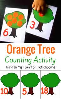 orange tree counting activity with free printable