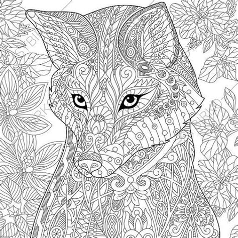 fox coloring page for adults fox adult coloring page zentangle doodle by