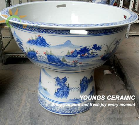 Ceramic Bowls Outdoor Big Jingdezhen Blue And White Porcelain Ceramic Pedestal