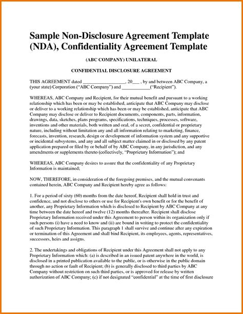 nda agreement template 7 nda agreement template itinerary template sle