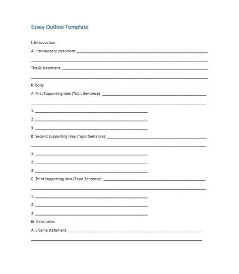 template of outline narrative essay outline format