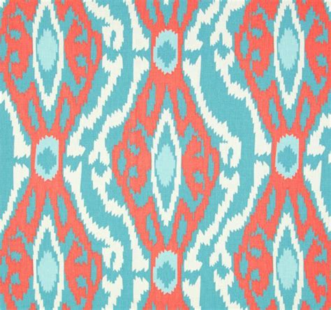 ikat upholstery fabric by the yard tribal ikat coral blue fabric by the yard by cottoncircle