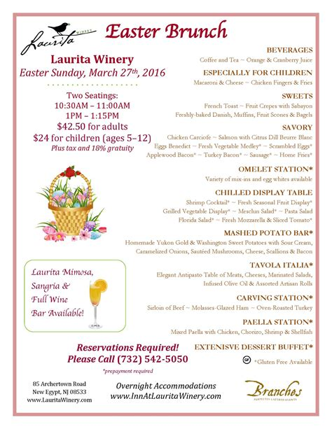 easter brunch buffet menu ideas easter sunday brunch laurita winery