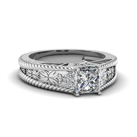 1 carat princess cut vintage wedding ring in 950