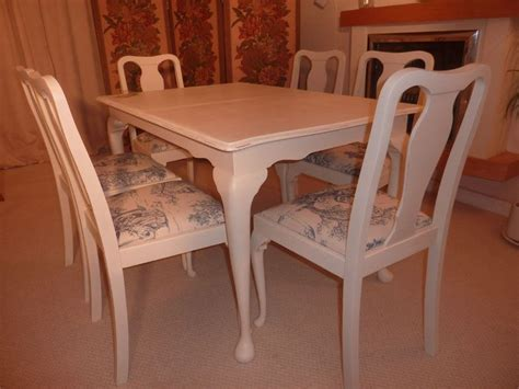 shabby chic extendable dining table with 6 chairs painted