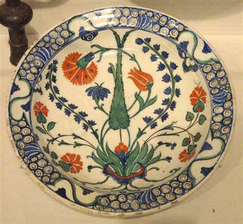 the ottoman dynasty datei plate with carnation tulip hyacinth and cypress
