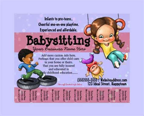 11 Babysitting Flyers Sle Templates Baby Sitting Flyer Template