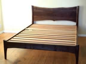 Wood Bed Frame Live Edge Platform Bed Walnut Mid Century Modern Live Edge