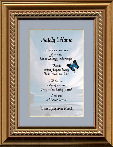 safely home sympathy poem framed gift for memorial