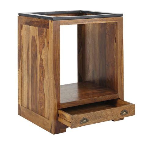 meuble bas de cuisine pour four en bois de sheesham massif