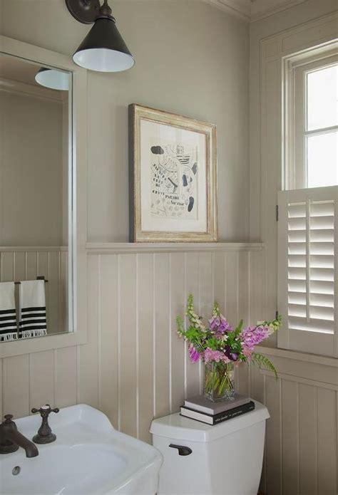 beadboard rooms taupe powder room with beadboard walls cottage bathroom