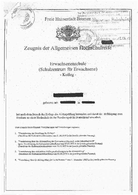 Bewerbung Uni Bremen Universit 228 T Bremen Musterzeugnisse