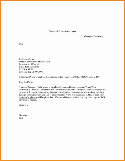 Commitment Letter For Absences 7 commitment letter format driver resume