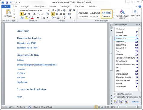 Word Vorlage Datum Automatisch Word 2010 Formatvorlagen