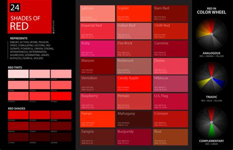 shades of red rgb shades of red color palette and chart with color names