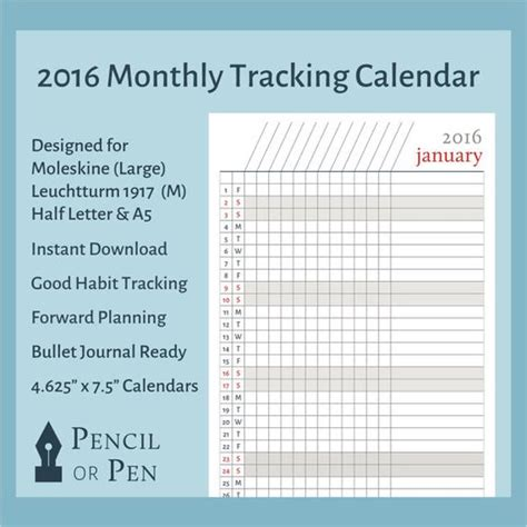 moleskine calendar template 2017 monthly printable calendar tracker for bullet