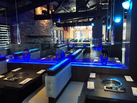 gen korean bbq house seating with cool blue lights picture of gen korean bbq house torrance torrance